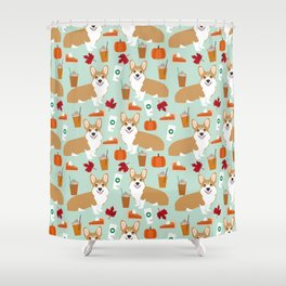 Corgi - Pumpkin Spice, psl, coffee, latte, pumpkin pie,  fall, autumn, holiday, Shower Curtain