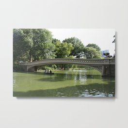 Bow Bridge And Rowboat NYC Metal Print