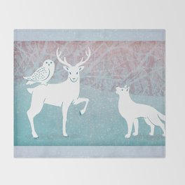 Winter In The White Woods Throw Blanket