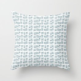 Blue and White Basketweave Throw Pillow