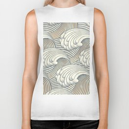 Ocean Waves Pattern Ancient Japan Art Biker Tank