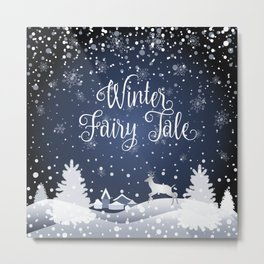 Christmas Winter Fairy Tale Fantasy Snowy Forest - Collection Metal Print