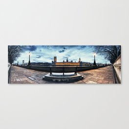Panoramic view of bench overlooking the Houses of Parliament on the River Thames at dusk Canvas Print
