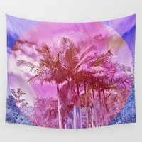 palm trees Wall Tapestries featuring Palm trees by Lara Gurney