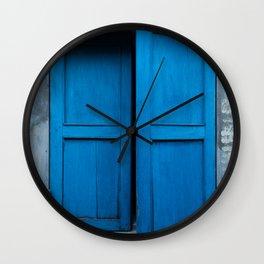 Blue Shutters - Hoi An, Vietnam Wall Clock