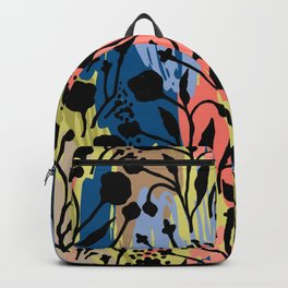 Abstract green coral pink black brushstrokes floral Backpack