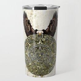 MEXICAN EAGLE AZTEC CALENDAR FLAG Travel Mug