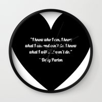 dolly parton Wall Clocks featuring Dolly Parton slogan in Black by Geraldine Mattis