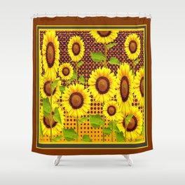 COFFEE BROWN SUNFLOWERS CABIN ART Shower Curtain