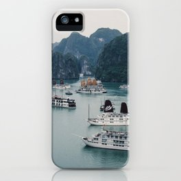 The Boats and Limestone Cliffs of Halong Bay, Vietnam iPhone Case