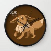 eevee Wall Clocks featuring Pkmn #133: Eevee by Michelle Rakar