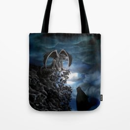 Wolfmoon , Wolf with Golem Tote Bag