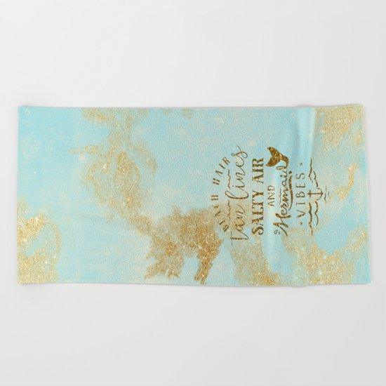 Beach-Mermaid-Mermaid Vibes - Gold glitter lettering on aqua glittering background Beach Towel