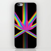 """cannabis iPhone & iPod Skins featuring Rainbow Cannabis by """"LSC"""""""