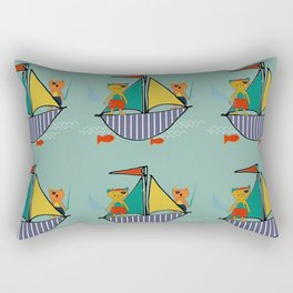 Pirate Boat teal Rectangular Pillow