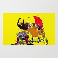 evil Area & Throw Rugs featuring EVIL CAR by kasi minami
