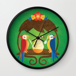 Tiki Birds Ice Cream Date Wall Clock