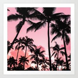 Tropical Trees Silhouette Art Print