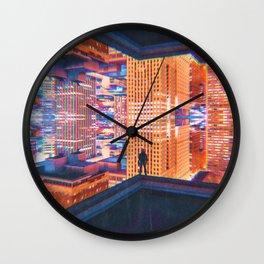 Colorful Dystopian City Glitch Wall Clock