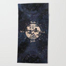Compass World Star Map Beach Towel