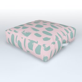 Handdrawn mint drops and dots on pink - Mix & Match with Simplicty of life Outdoor Floor Cushion