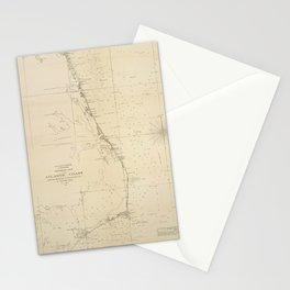 Vintage North Carolina and Virginia Coastal Map Stationery Cards