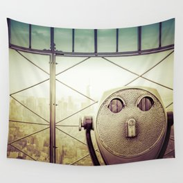 New York City Skyline Tourist Binoculars Wall Tapestry