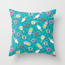 Sweet Treats Pool Floats Pattern – Turquoise Throw Pillow