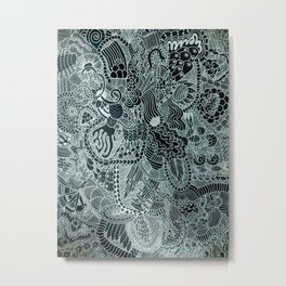 The Underbrush Black and White Metal Print