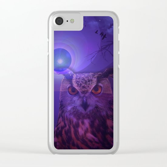 The Owl and the Purple Moon Clear iPhone Case