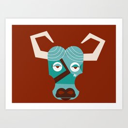 Babe the Blue Ox (Maroon) Art Print