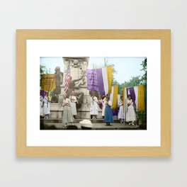 Lafayette, We Are Here! Suffragists protest across from the White House in 1918 Framed Art Print