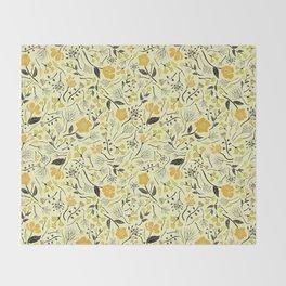 Yellow, Green & Black Floral/Botanical Pattern Throw Blanket
