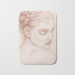 Portrait Study Drawing Victorian Lady Bath Mat