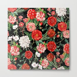 Mix Red Flowers with Stars Metal Print