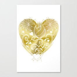 White Inked Floral Heart - Golds Canvas Print