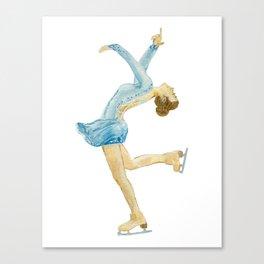 Girl in blue dress. Figure skater. Canvas Print