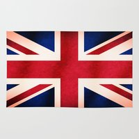 british flag Area & Throw Rugs featuring Union Jack UK British Grunge Flag  by Tigerlynx
