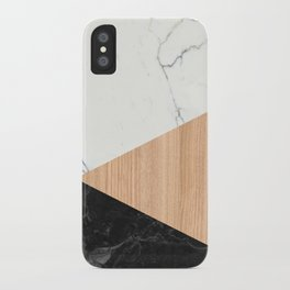 Marble and Wood Abstract iPhone Case