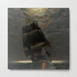 Schooner at Midnight off the Rhode Island Coast by James Gale Tyler Metal Print
