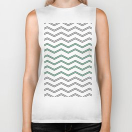 Modern Gray Mint Green Abstract Chevron Pattern Biker Tank