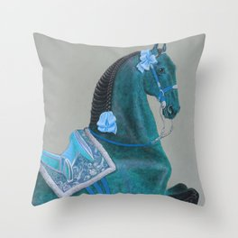 Blue Baroque Horse Throw Pillow