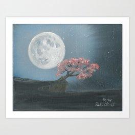 Cherry Blosom Moon Art Print