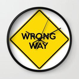 WRONG WAY Yellow Road Sign Wall Clock