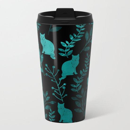 Watercolor Floral and Cat IV Metal Travel Mug
