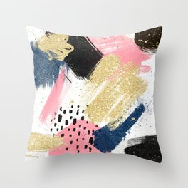 Modern pink gold navy geometric abstract brushstrokes pattern Throw Pillow