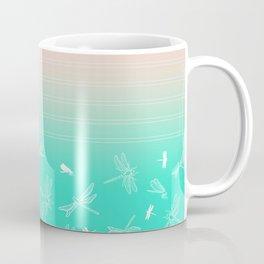 Dragonfly, Pink and Green Blush Coffee Mug