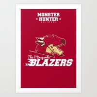monster hunter Art Prints featuring Monster Hunter All Stars - The Minegarde Blazers by Bleached ink