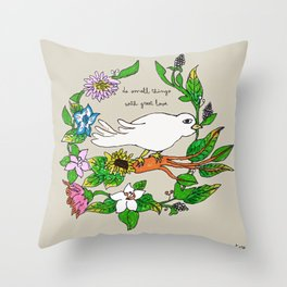 Tarachand's Floral Wreath and Bird with Mother Teresa quote Throw Pillow