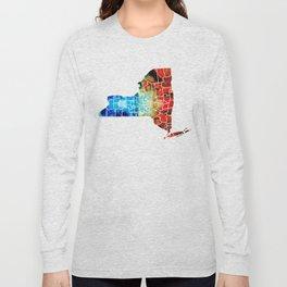 New York - Map By Sharon Cummings Long Sleeve T-shirt